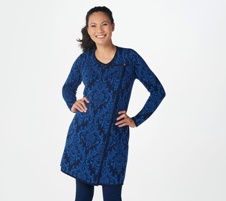 Susan Graver Cotton Acrylic Jacquard Sweater Cardigan