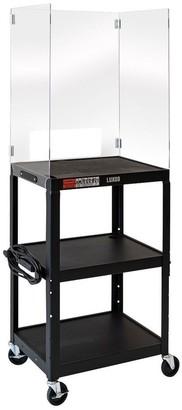 Luxor Adjustable-Height Steel Media Card with Acrylic Sneeze Guard
