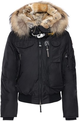 Parajumpers Gobi Nylon Down Bomber Jacket W/ Fur