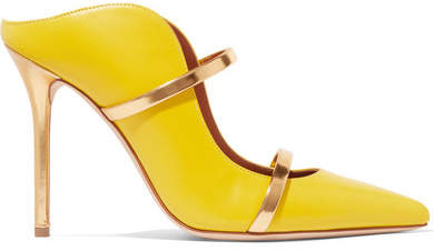 Malone Souliers by Roy Luwolt - Maureen Metallic-trimmed Leather Mules - Yellow