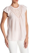 Rebecca Taylor Silk Embroidered Mesh Blouse