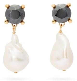 Chloé Crystal And Baroque-pearl Earrings - Pearl