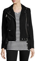 Burberry Arnstead Suede Moto Jacket with Fringe Back