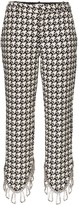 Area asymmetric embellished houndstooth trousers