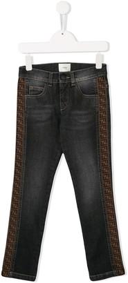 Fendi Kids Side Logo Detail Jeans