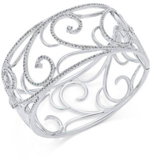 Eliot Danori Silver-Tone Pave Filigree Cuff Bracelet, Created for Macy's
