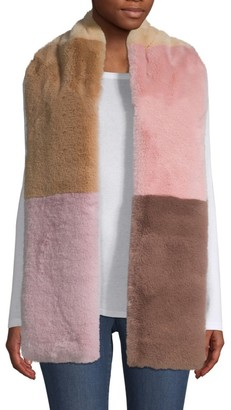 Jocelyn Savage Love Faux Fur Wide Colorblocked Scarf