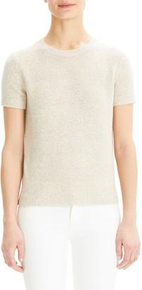 Theory Linen Blend Knit Short Sleeve Top
