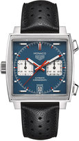 TAG Heuer Men's Swiss Automatic Chronograph Monaco Calibre 11 Black Calfskin Leather Strap Watch 39mm CAW211P.FC6356