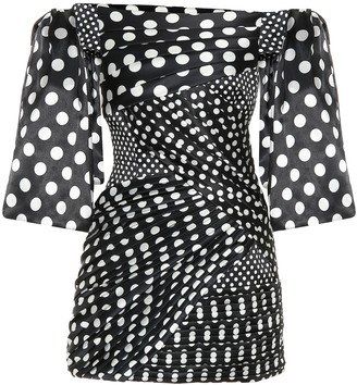 Richard Quinn Polka-dot duchess-satin minidress