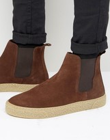 Asos Chelsea Boots In Brown Suede