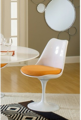 Bsd National Supplies Deland Tulip Style Swivel Dining Chair with Orange Cushioned Seat
