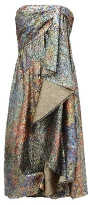 Halpern Draped Sequinned Lame Dress - Womens - Khaki
