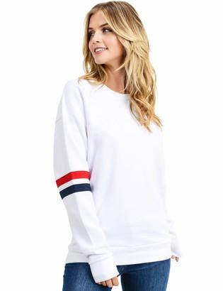 Esstive Women's Ultra Soft Fleece Lightweight Casual Stripe on Sleeves Varsity Solid Sweatshirt