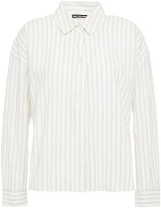 James Perse Striped Cotton-blend Poplin Shirt