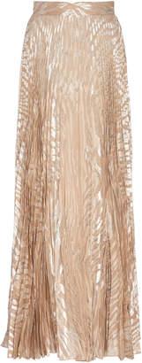 Dundas Pleated Metallic Silk-Blend Fil Coupé Maxi Skirt Size: 36