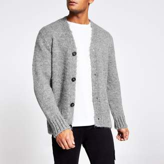 River Island Mens Grey long sleeve slim fit knitted cardigan
