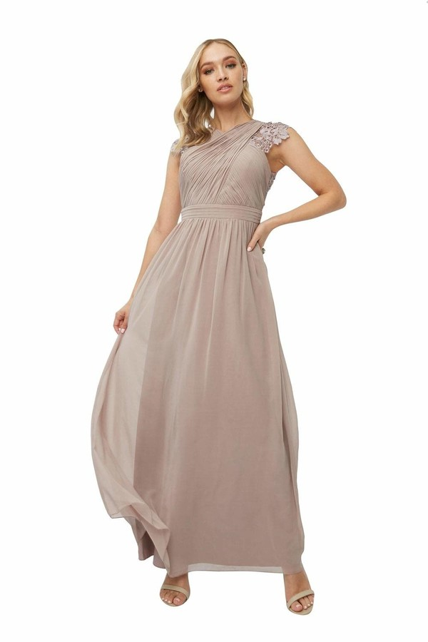 Thumbnail for your product : Little Mistress Bridesmaid Leonora Oyster Crochet Maxi Dress 16 UK Oyster