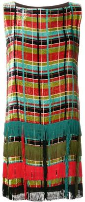 Jean Paul Gaultier Pre-Owned checked velvet fringed dress