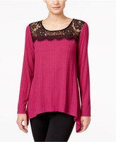 NY Collection Petite Lace-Neck Handkerchief-Hem Top