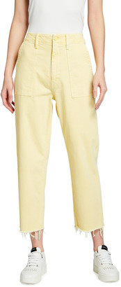 Mother The Patch Pocket Zip Private Ankle Fray Jeans