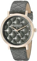Stuhrling Original Women's Quartz Watch with Grey Dial Analogue Display and Grey Leather Strap 462.01