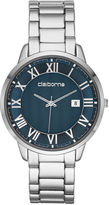 Claiborne Mens Silver-Tone Blue Dial Watch