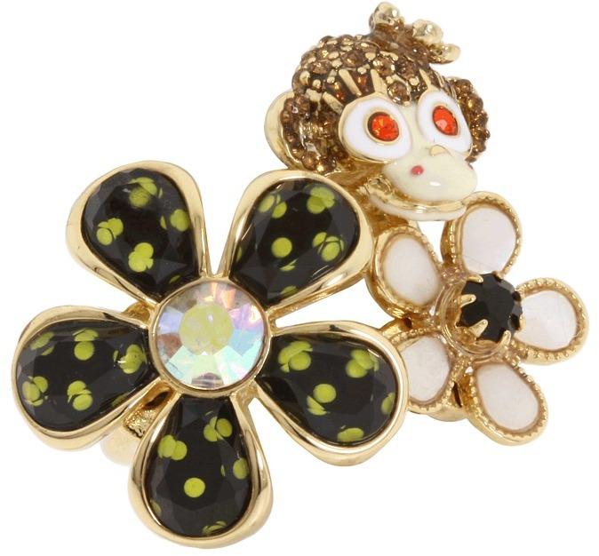 Betsey Johnson Safari Monkey Flower Stretch Ring (Black/Yellow/Antique Gold) - Jewelry