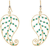 Cathy Waterman WOMEN'S EMERALD & GOLD LEAF EARRINGS
