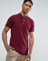 Tommy Hilfiger Pique Polo Flag Logo in Burgundy