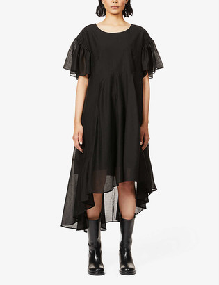 Designers Remix Sonia frill-trimmed woven midi dress
