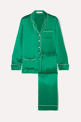 Olivia von Halle Coco Silk-satin Pajama Set - Forest green
