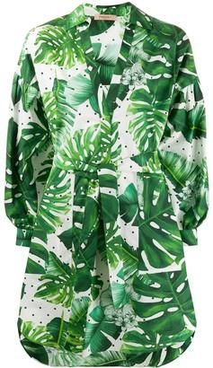 Twin-Set leaf print cotton shirt dress