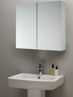 John Lewis & Partners Double Mirrored Bathroom Cabinet, White