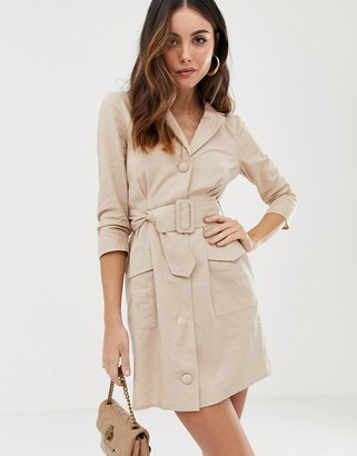 ASOS DESIGN linen mini tux dress with belt in stone