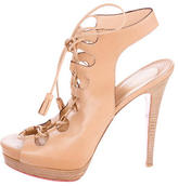 Christian Louboutin Lace-Up Leather Booties