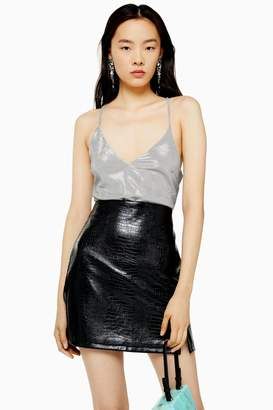 Topshop Womens Silver Chainmail Tie Cami - Silver