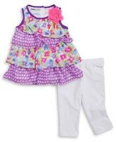 Kids Headquarters Little Girls Tiered Tunic and Leggings Set