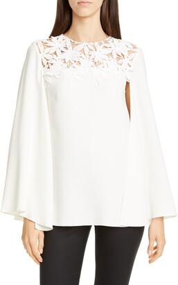 Oscar de la Renta Illusion Embroidered Silk Blend Blouse