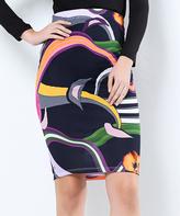 Black Geometric Pencil Skirt