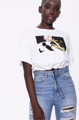 Forever 21 Rose Graphic Toggle Tee