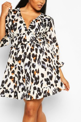 boohoo Plus Multi Leopard Print Satin Ruffle Skater Dress