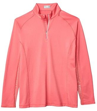 Callaway Sun Protection Long Sleeve 1/4 Zip Top (Camellia Rose) Women's Clothing