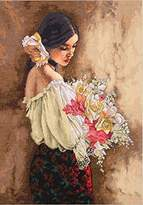 Dimensions Needlecrafts Counted Cross Stitch, Woman With Bouquet