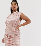 Katch Me Plus Katchme Plus satin ruched mini dress in pink champagne