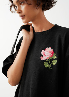 And other stories Rose Embroidered T-Shirt Mini Dress