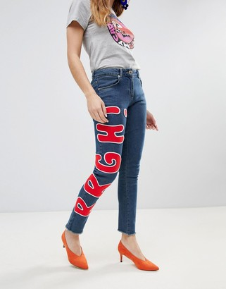 House of Holland Looney Toones Woody Patch Skinny Jeans-Blue