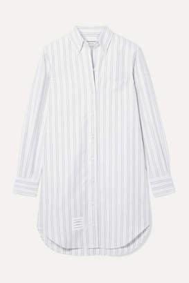Thom Browne Striped Cotton Oxford Mini Dress - White