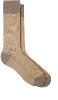 Barneys New York MEN'S STRIPED MID-CALF SOCKS-BROWN