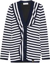 Sonia Rykiel Ruffled striped knitted cardigan